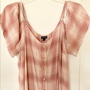 Dusty Rose & Cream Cold Shoulder Blouse